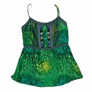 🐦FREE PEOPLE Vibrant Flowy Green Tank Top w/ Lace